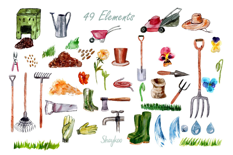 Garden Tools Watercolor Hand Painted Clipart, Spring Garden example image 2
