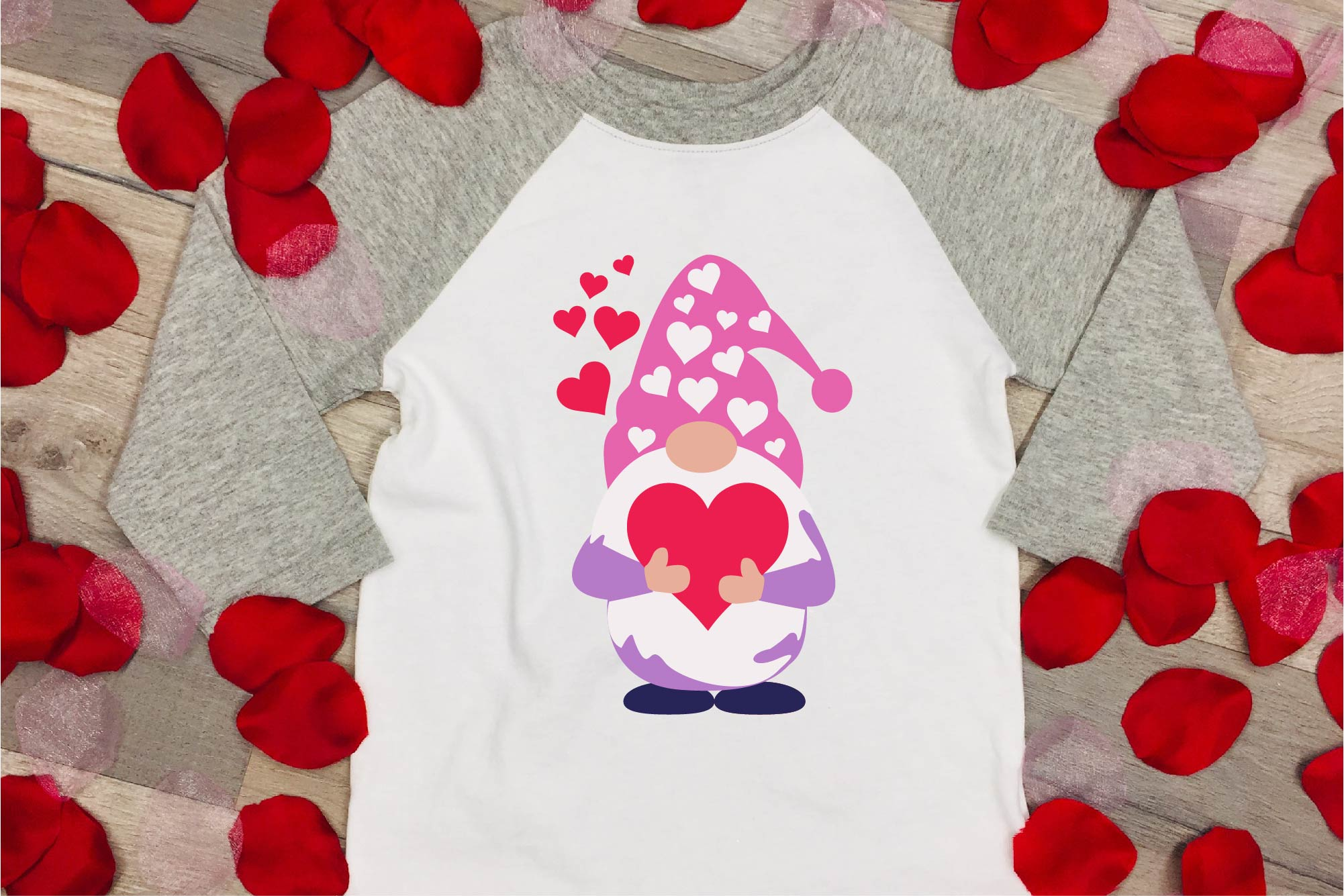 Valentine's Day SVG Valentine Gnome With Hearts Sublimation example image 1