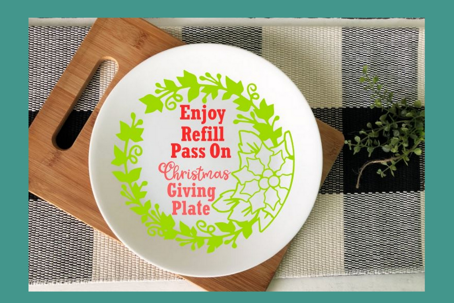 SVG Cut File Christmas Giving Plate Design #02 example image 2