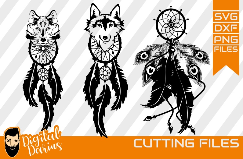 3x Dreamcatcher svg, Feather svg, Wolf svg, Geometrical svg example image 1