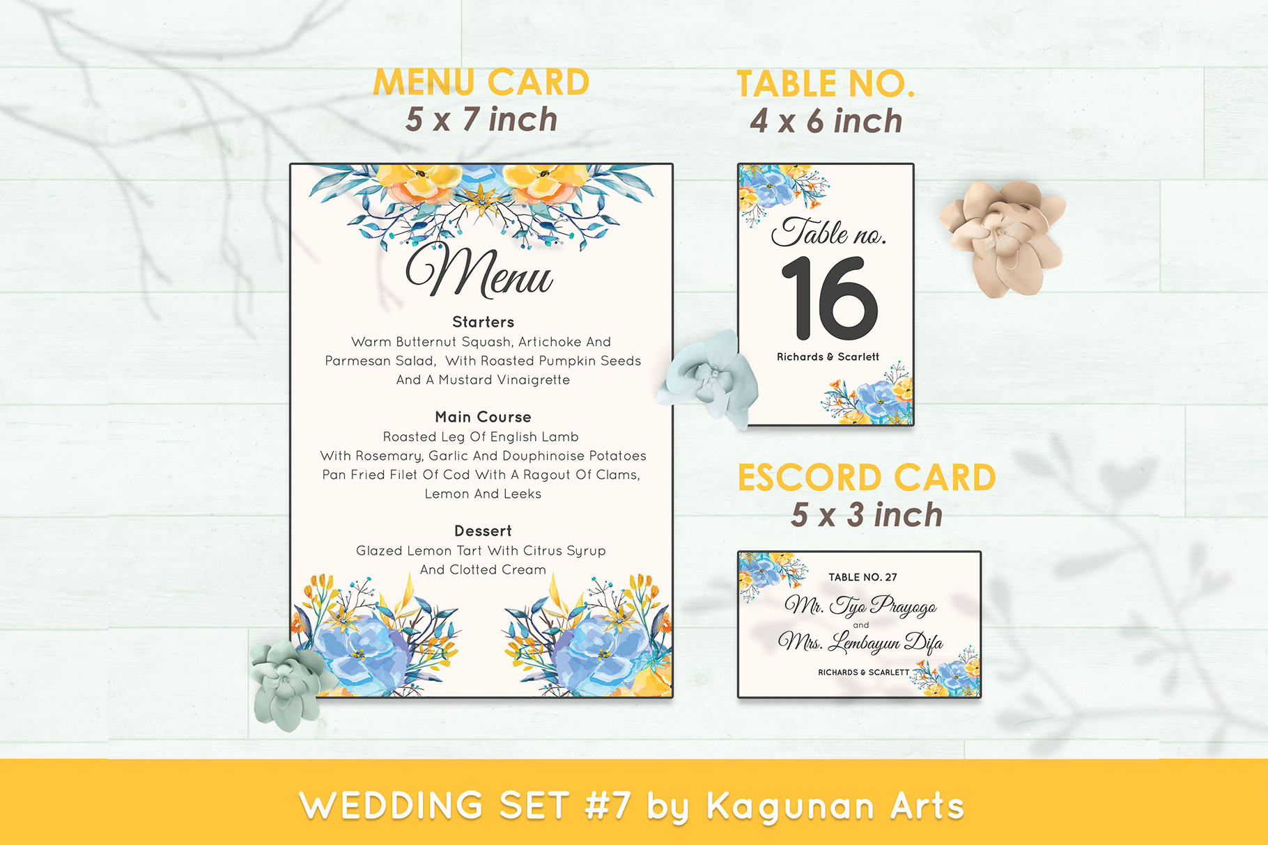 Wedding Invitation Set #7 Watercolor Floral Flower Style example image 6