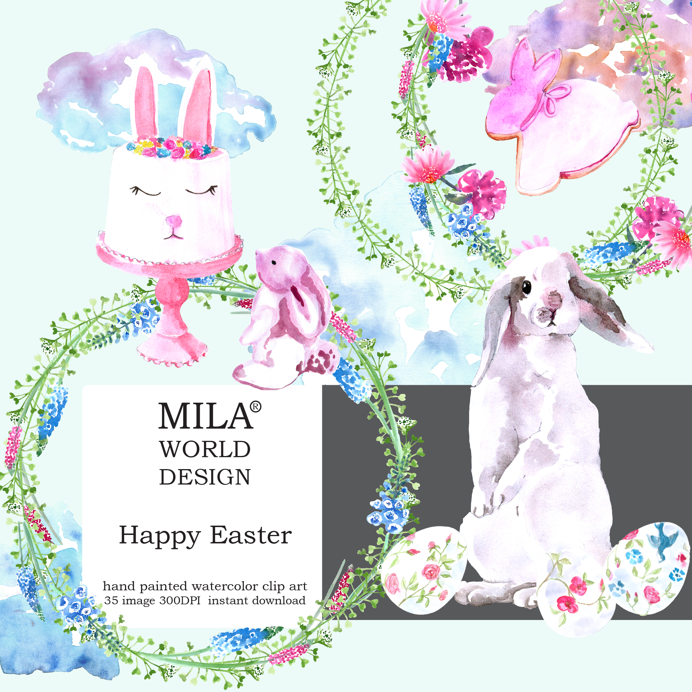 Watercolor Easter clipart example image 11