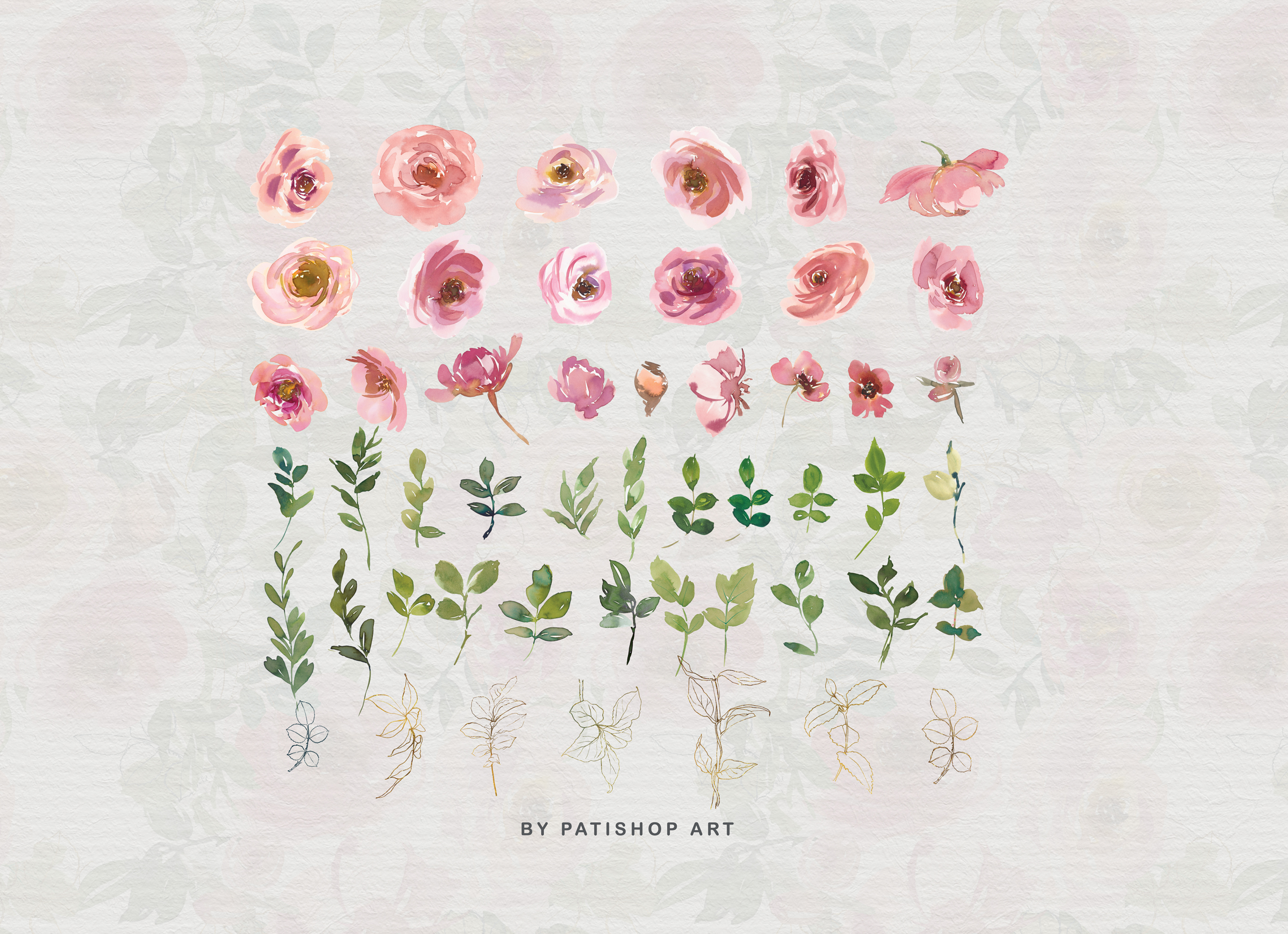 Blush and Peach Watercolor Floral Clipart Collection example image 9