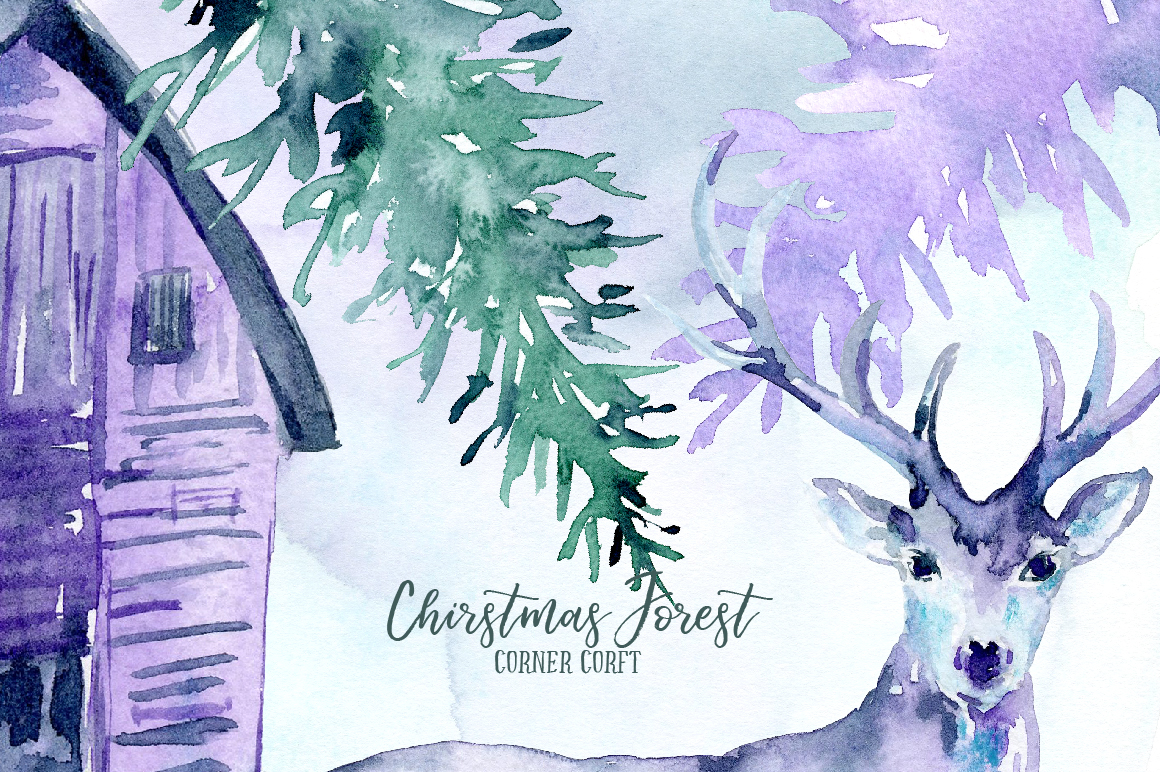 Watercolor Christmas Forest  example image 4