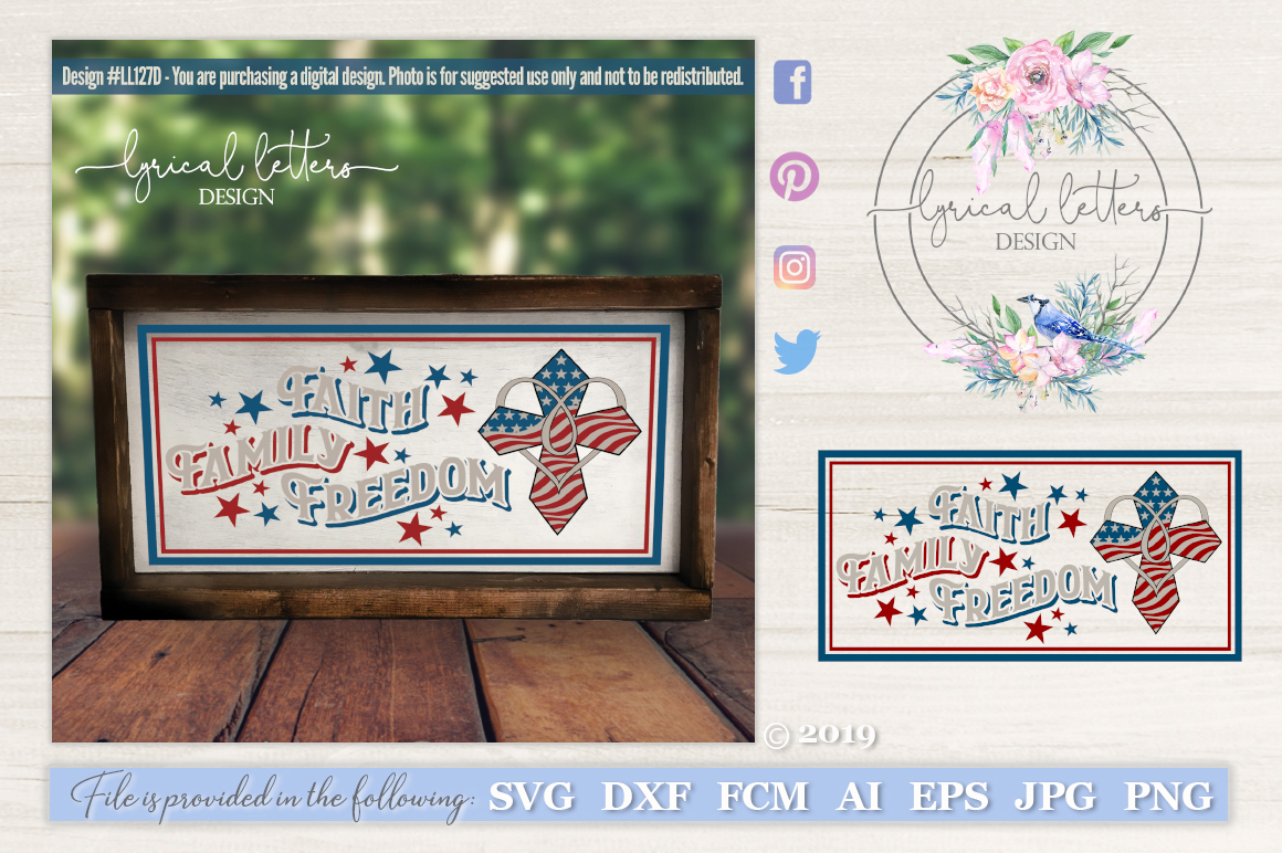 Faith Family Freedom with Cross Patriotic SVG DXF LL127D example image 1