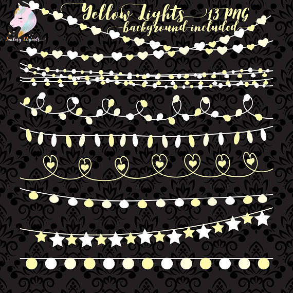 Outdoor Party Lights Clipart: Yellow String Lights Clipart