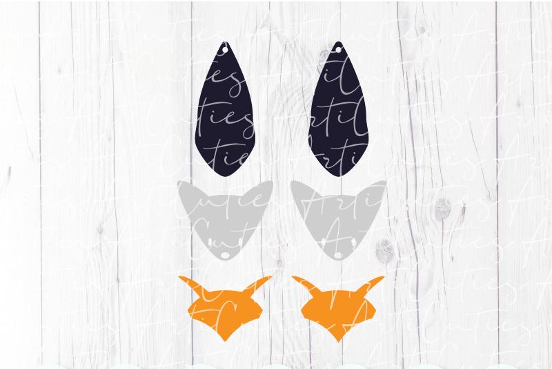 Fox earrings template SVG, DIY earrings template example image 3