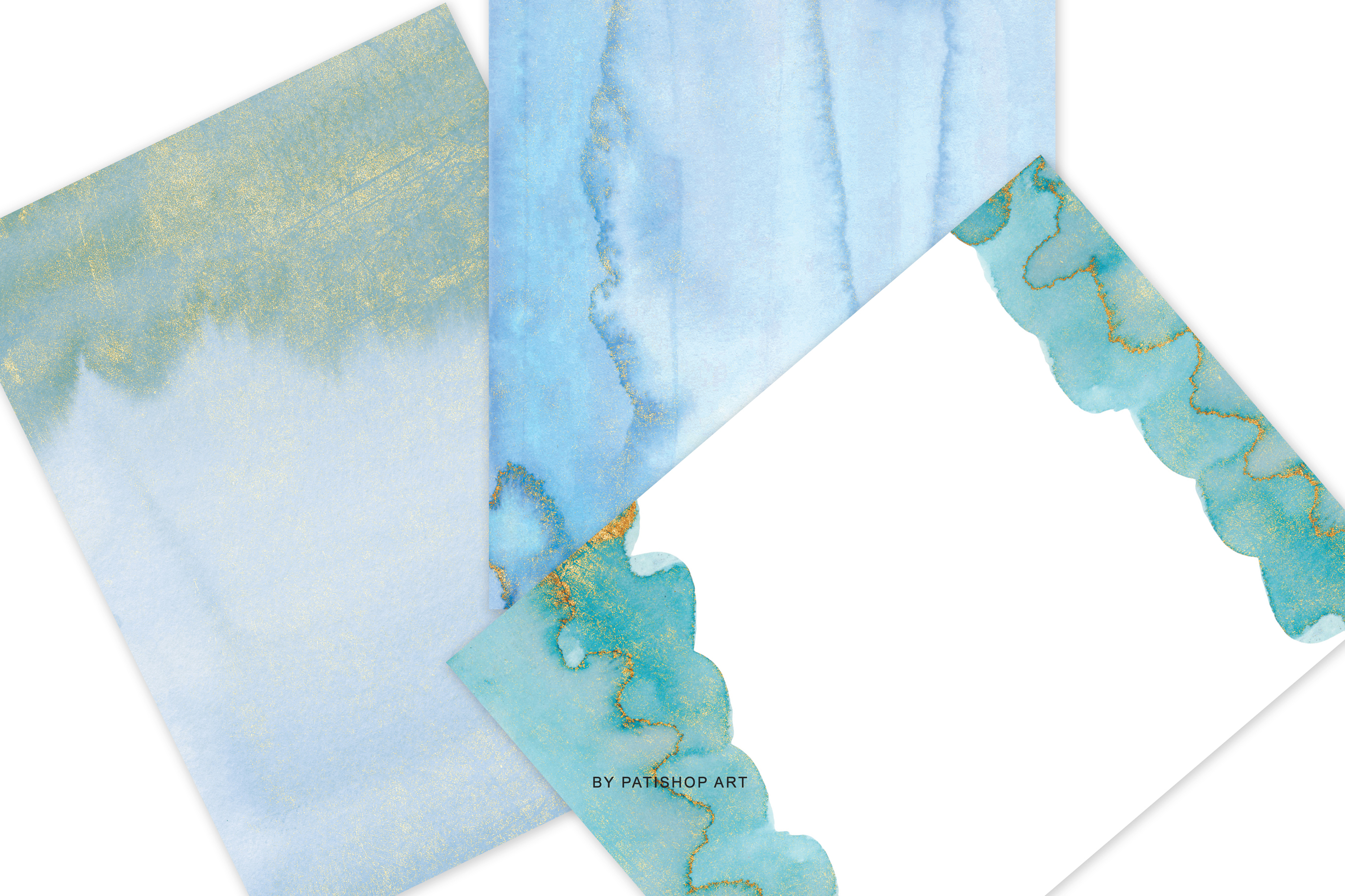 Watercolor Glittered Green & Turquoise Background 5x7 example image 10