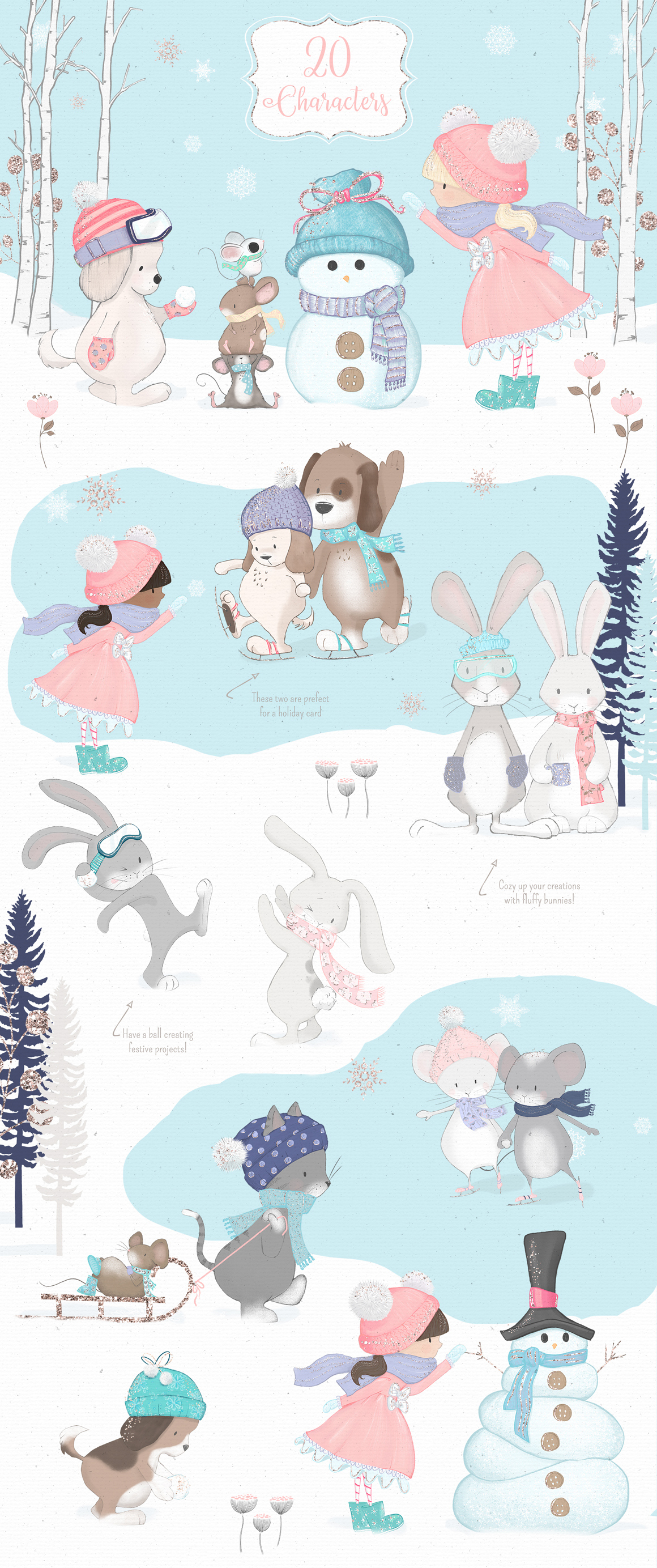 Winter Whimsy Clipart Collection example image 2