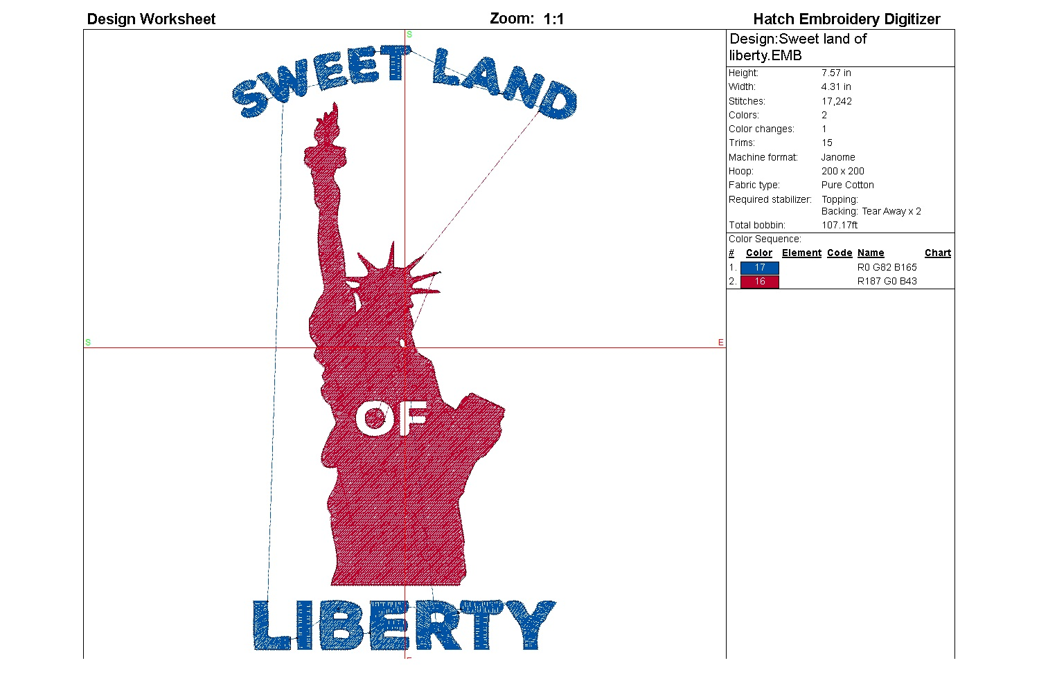 Sweet land of liberty| Independence day | Machine embroidery example image 5