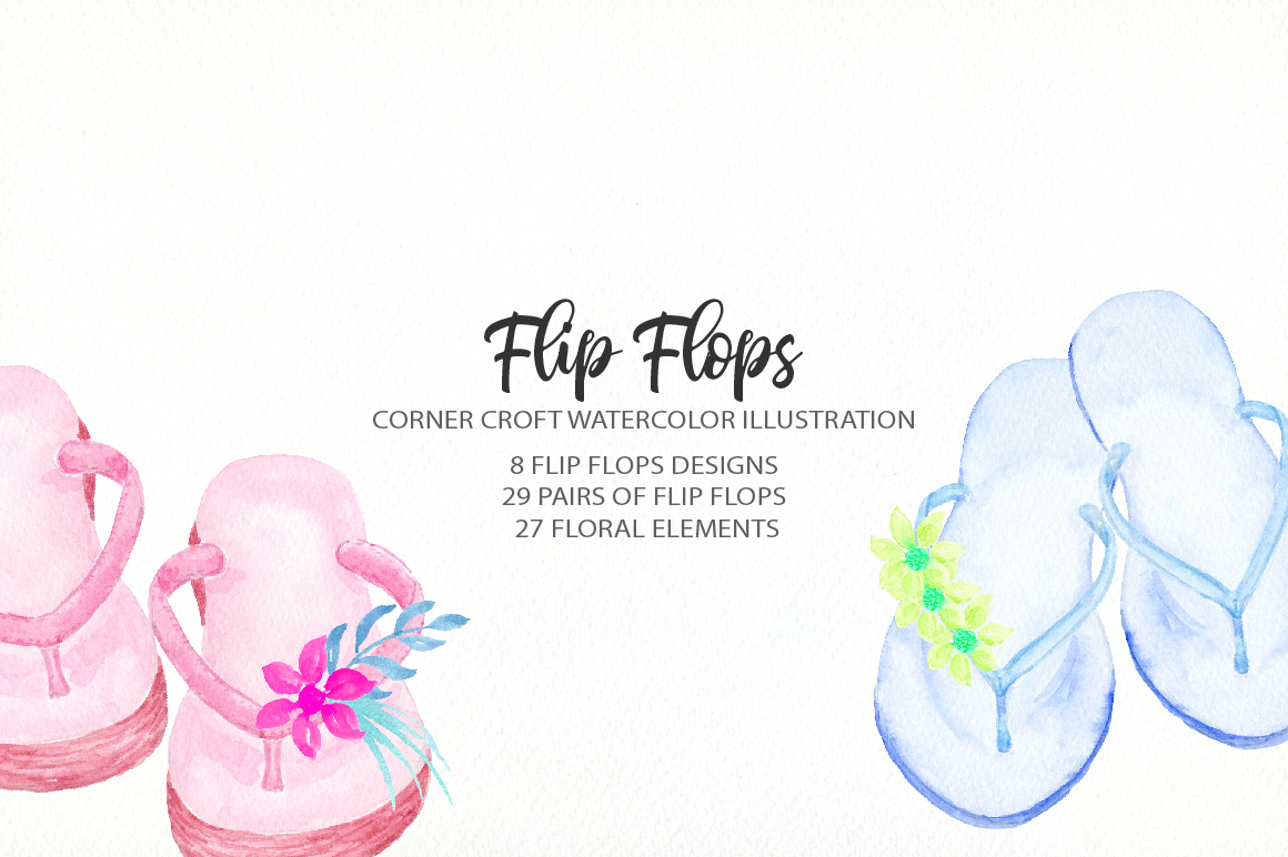 Watercolor flip flops clipart for instant download example image 5