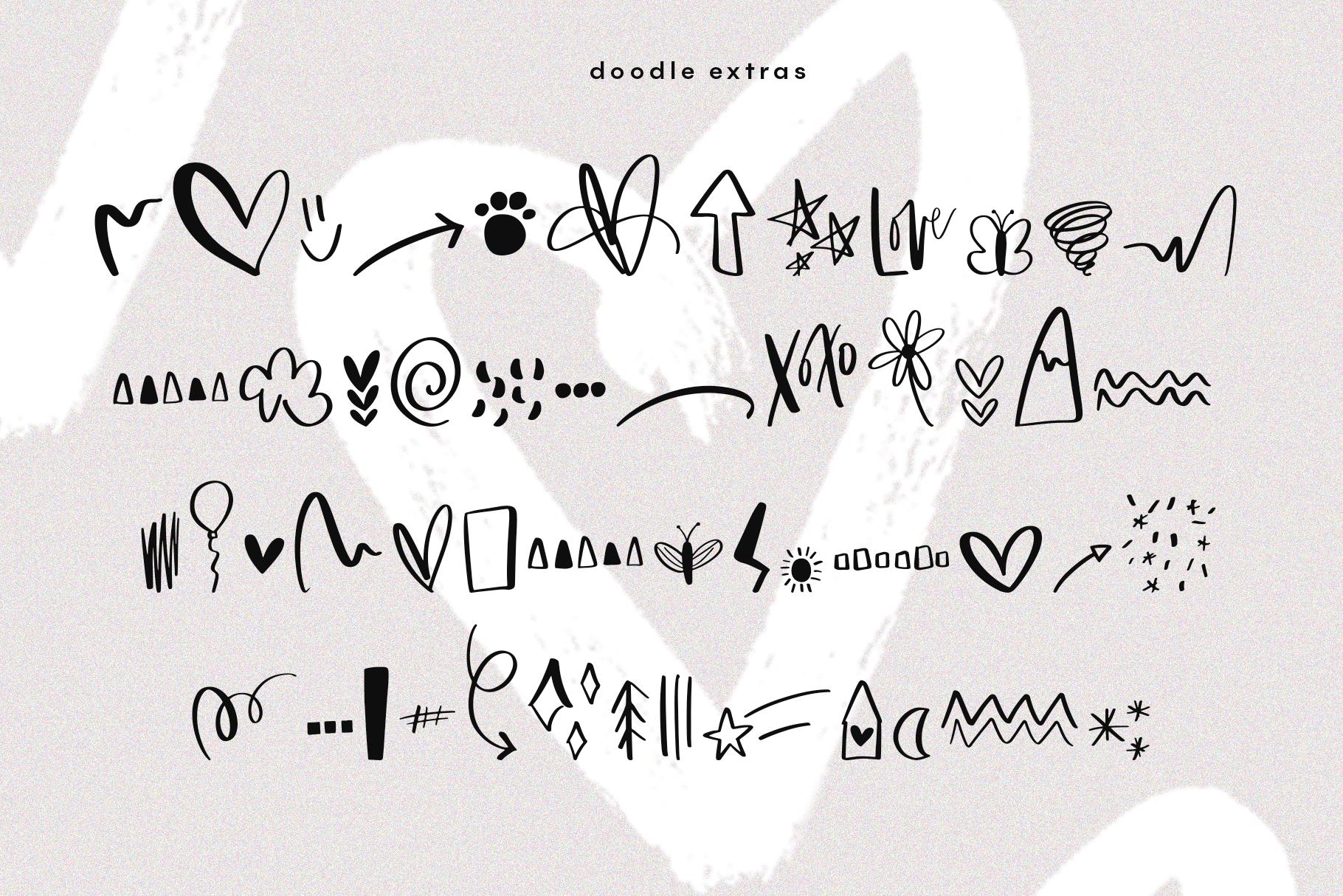 Joy & Hugs Handwritten Script Font - with doodle extras! example image 17