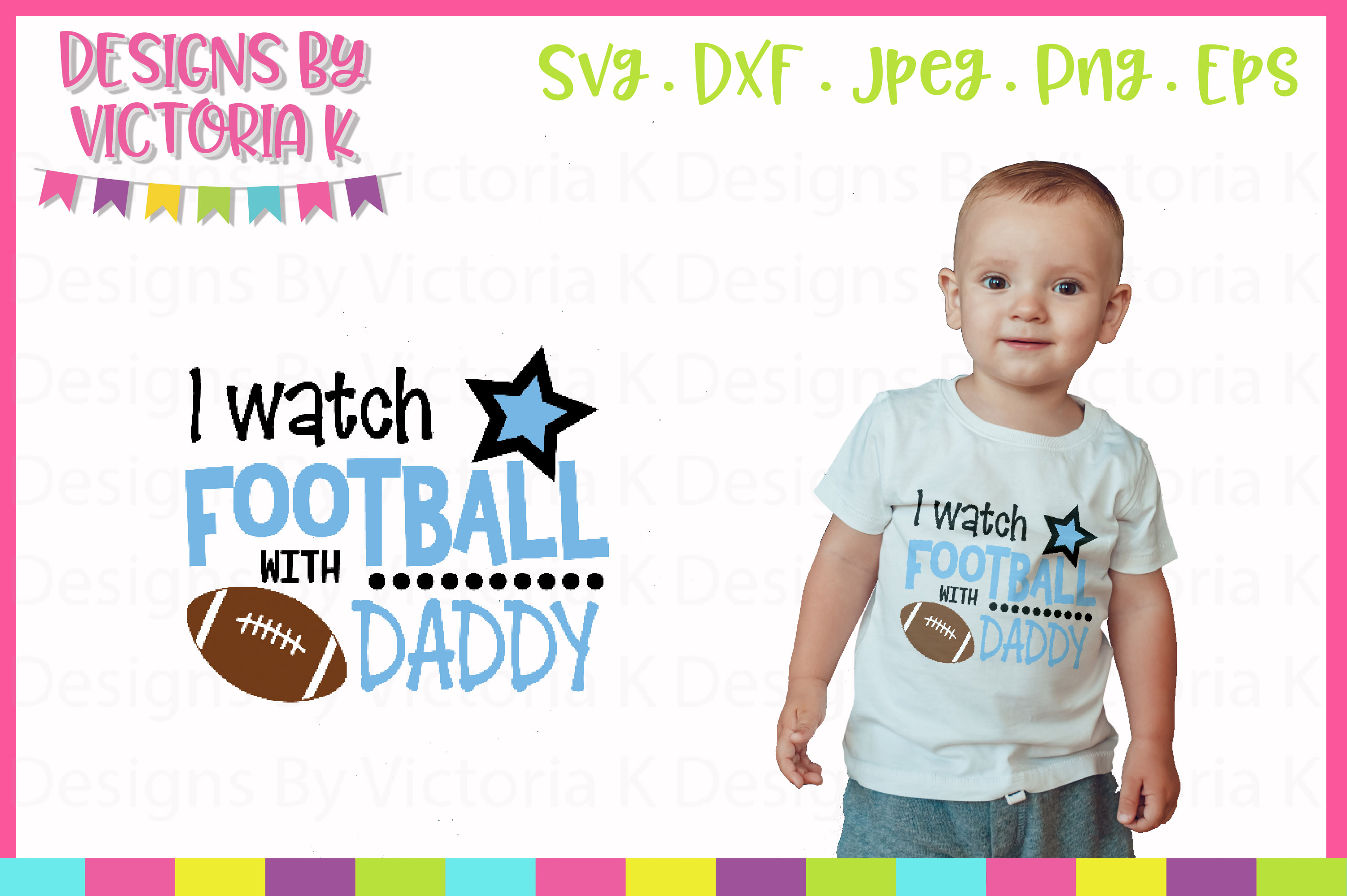 I watch football with Daddy, Mommy, SVG, DXF, PNG example image 5