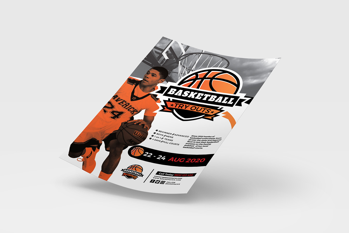 A4 Basketball Advertisement Template example image 3