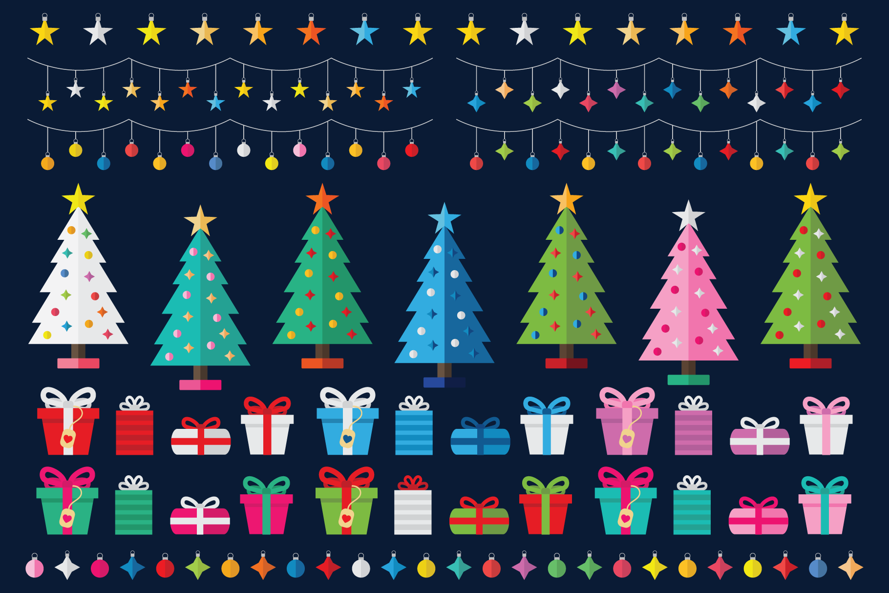 Colorful Christmas Tree Party Clip Art Set example image 3