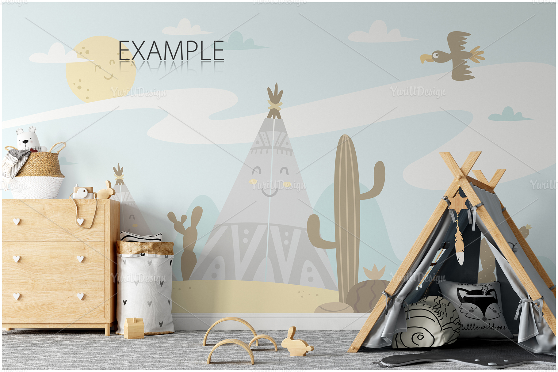 Kids Frames & Wall Mockup Bundle - 5 example image 7