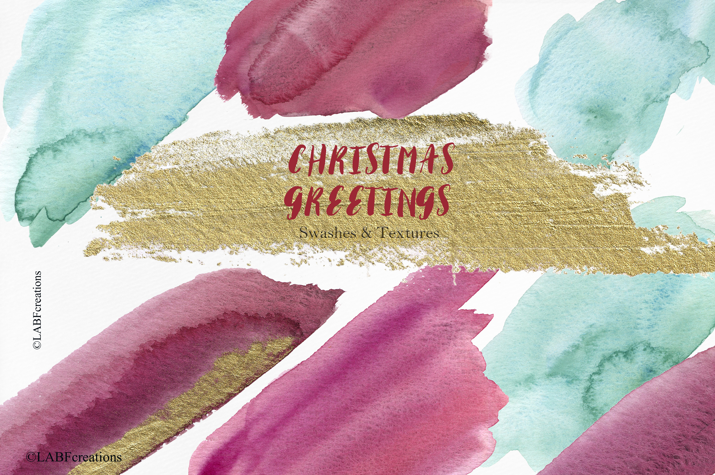 Christmas greetings. Hand drawn watercolor collection. example image 10