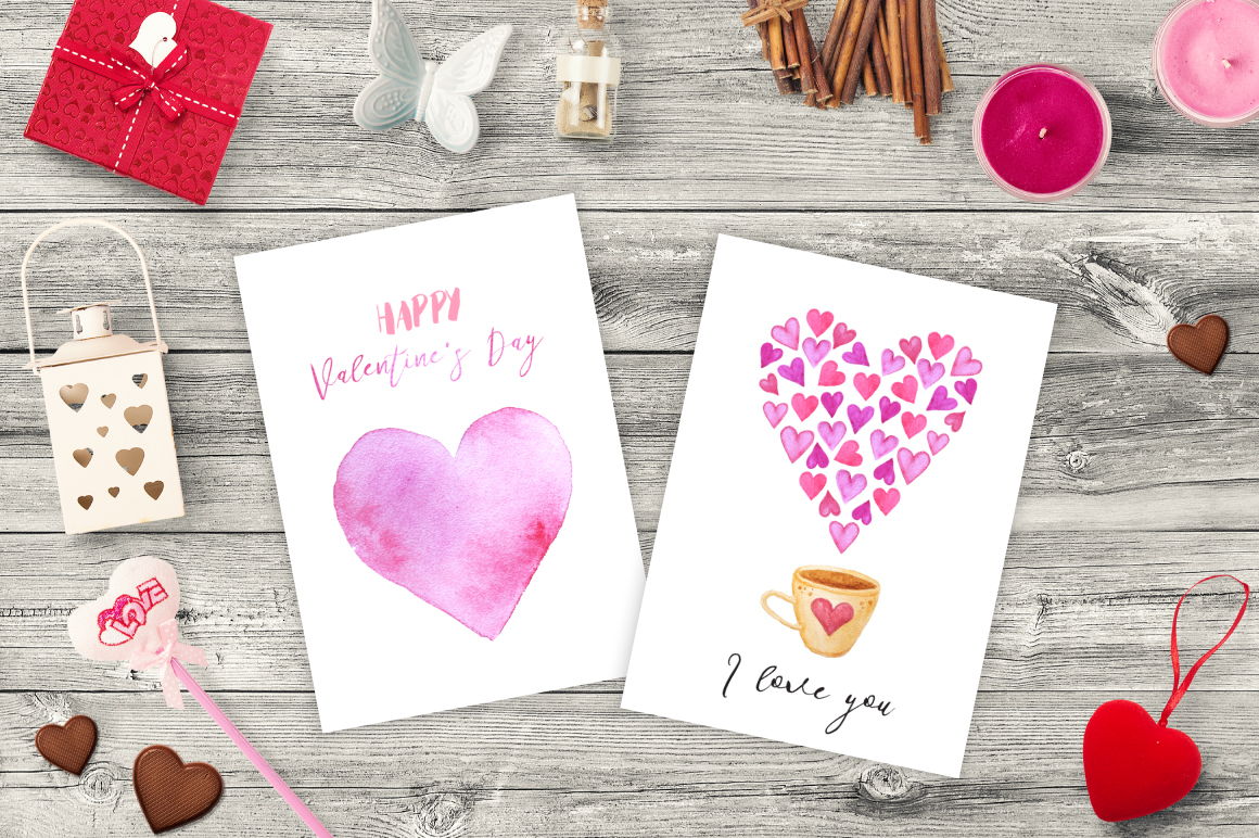 Watercolor Valentines Day Collection  example image 4
