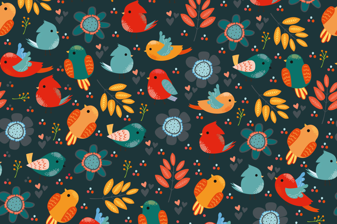 Seamless patterns with birds example image 5
