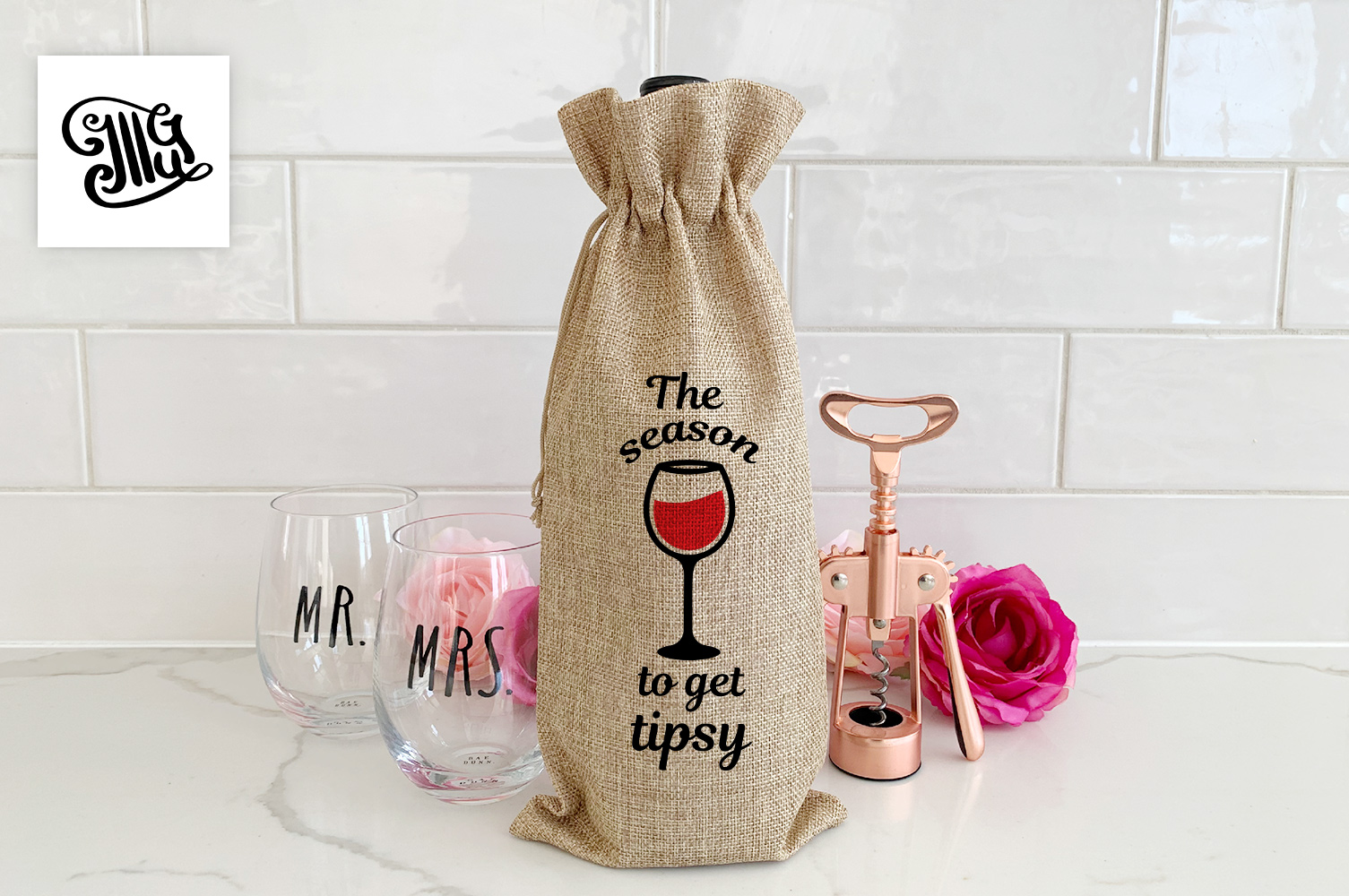 Christmas wine bag svg bundle example image 10