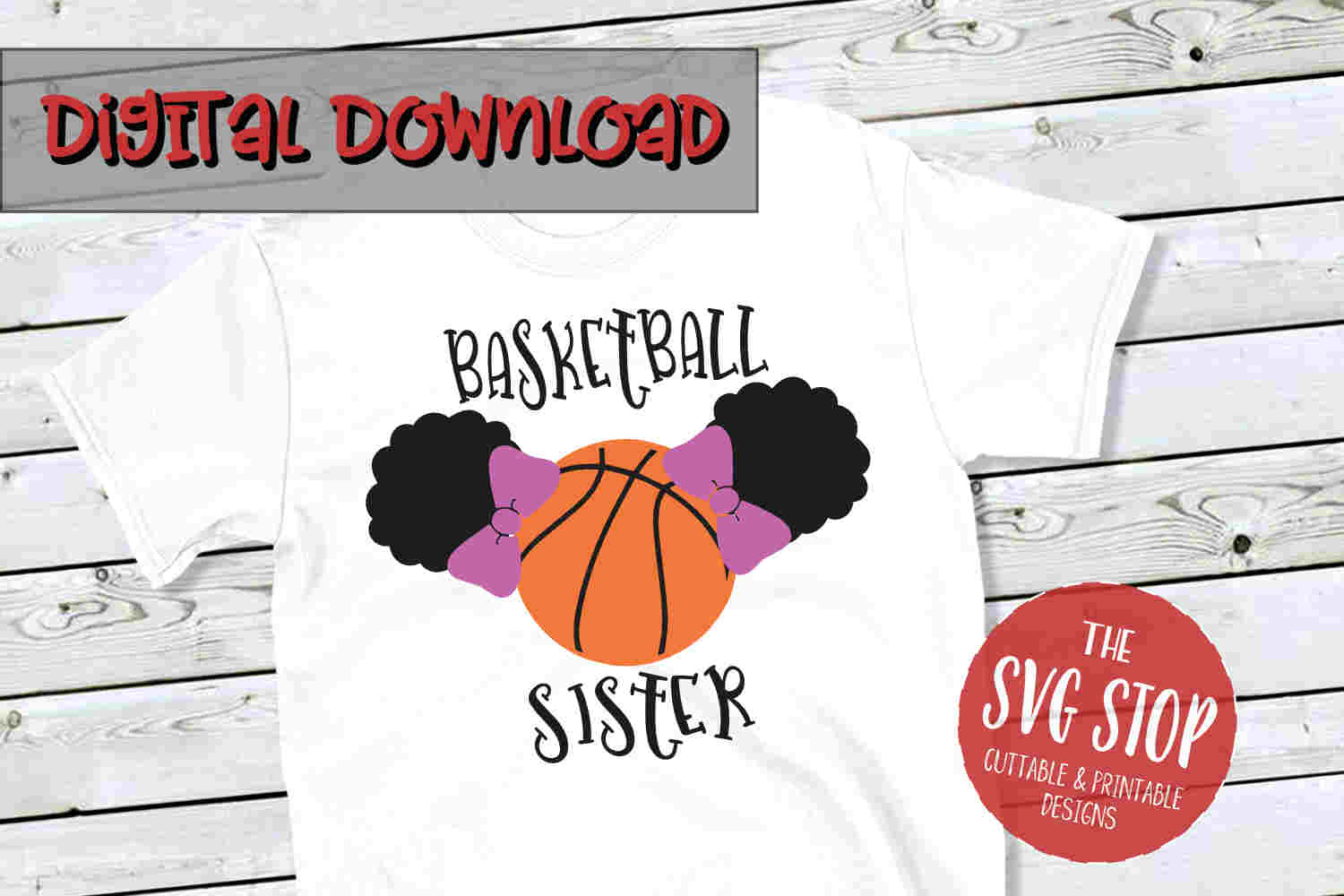 Basketball Sister Puffs -SVG, PNG, DXF example image 1