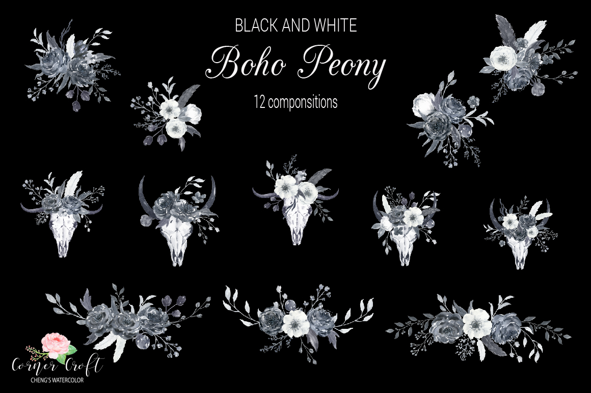 Watercolor Black and White Boho Peony example image 5