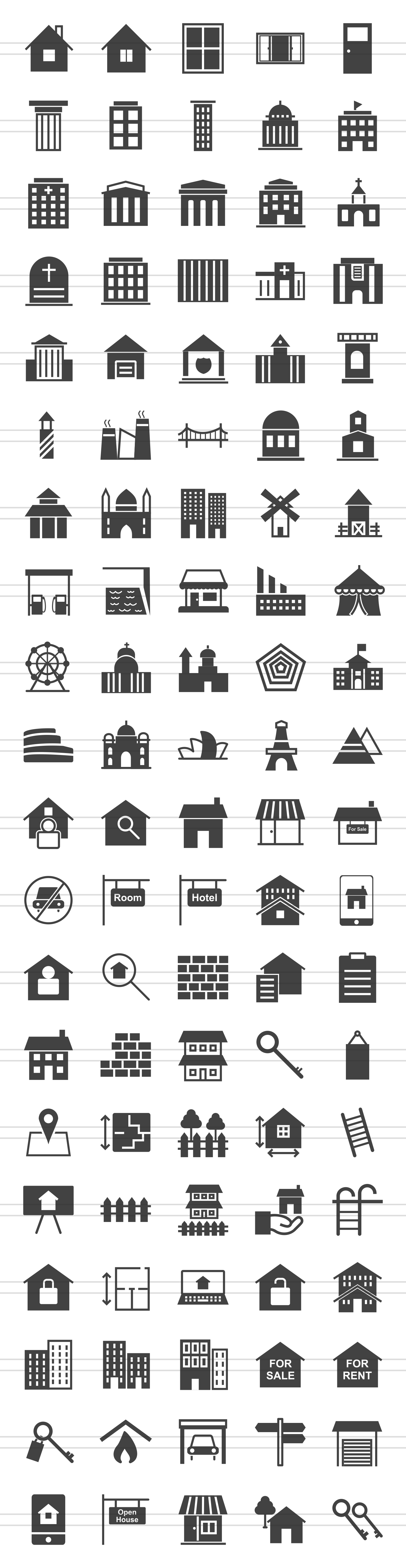 100 Building & Landmarks Glyph Icons example image 2