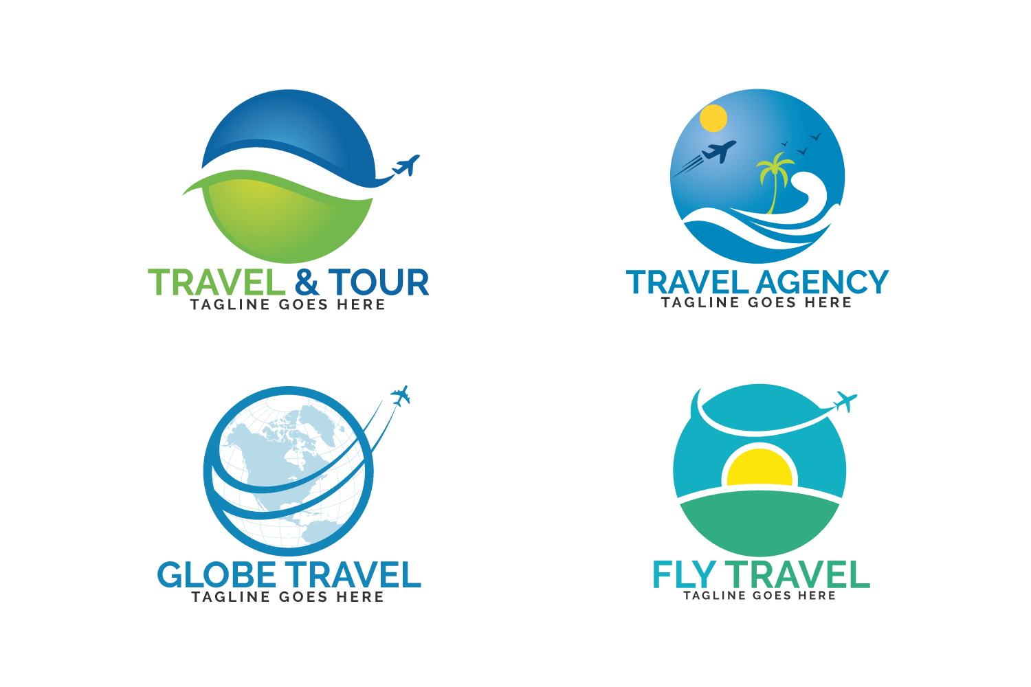 travel logos set design  ticket agency and tourism sign