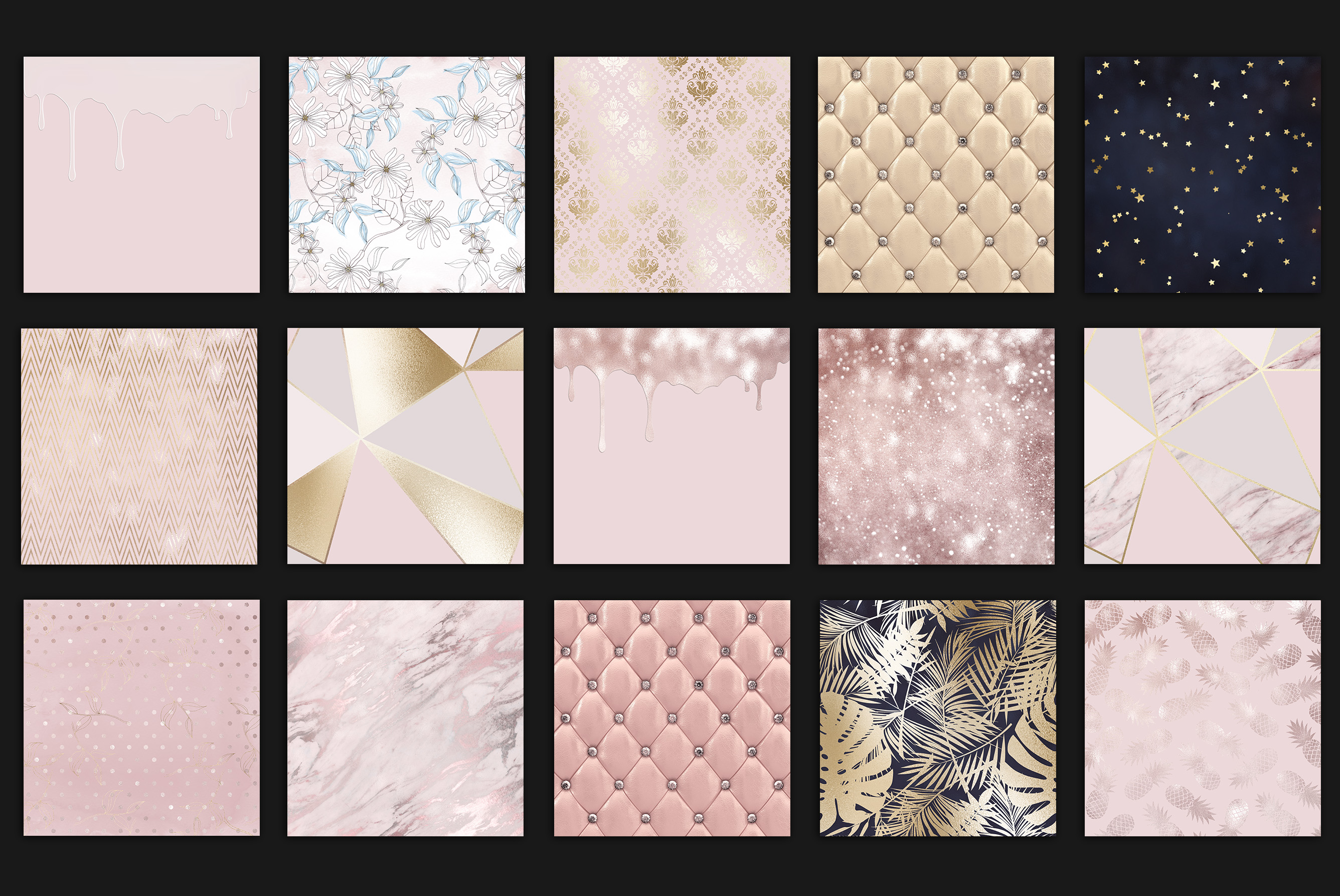 Rose Gold Marble Digital Paper example image 4