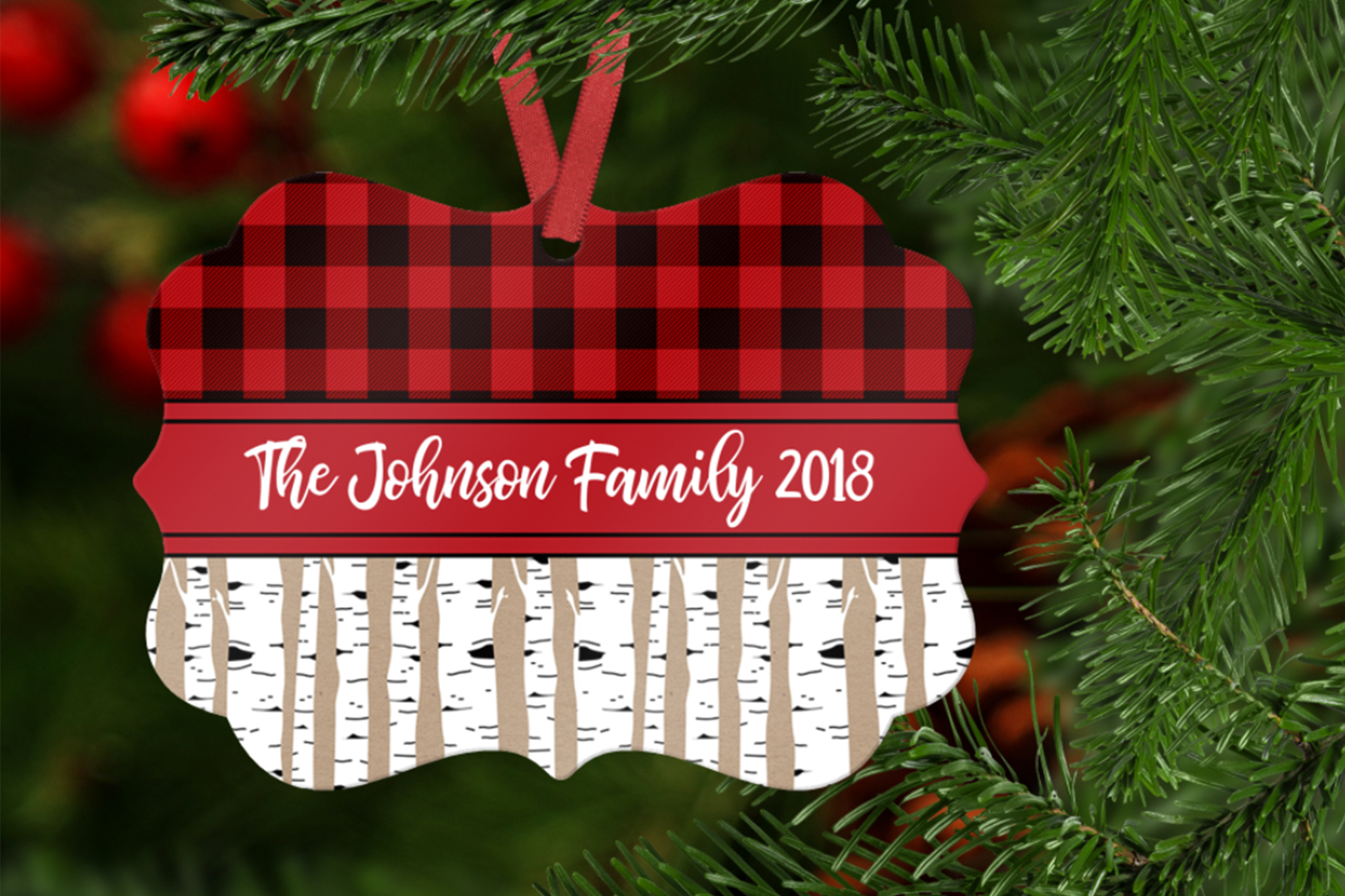Plaid and Birch Ornament Template example image 1