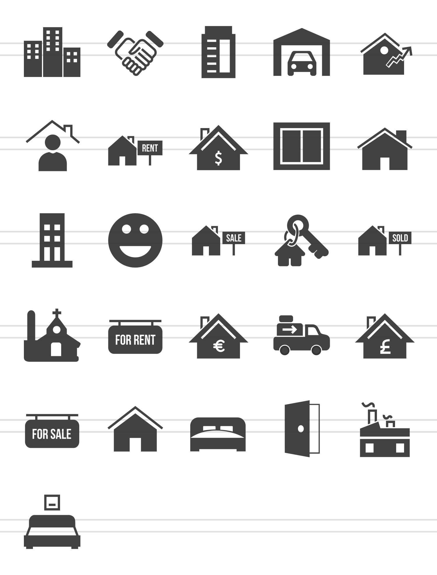 26 Real Estate Glyph Icons example image 2