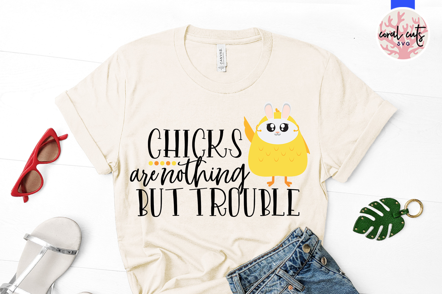 Chicks are nothing but trouble - Easter SVG EPS DXF PNG File example image 2