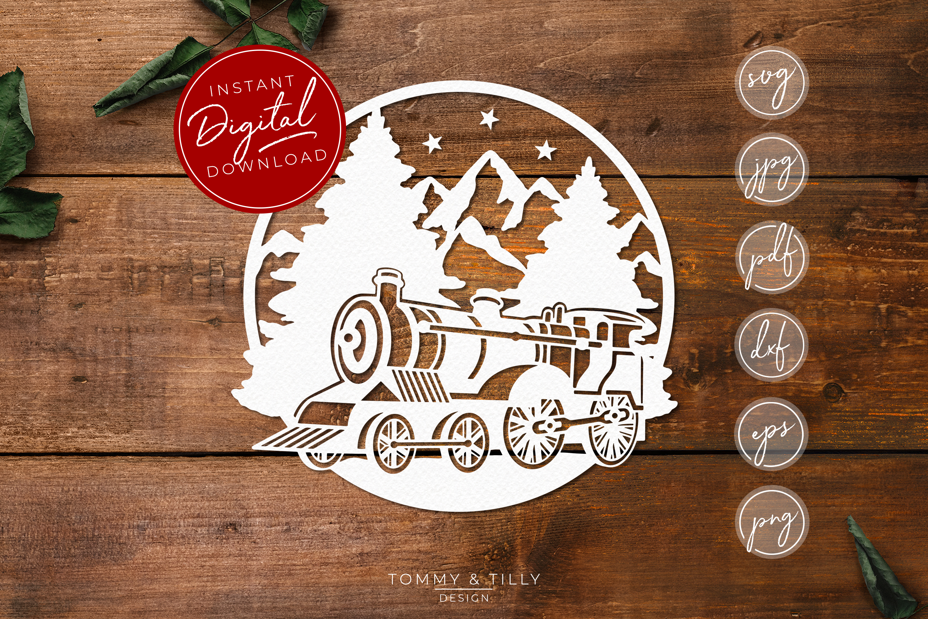 Train Mountain Scene - SVG EPS DXF PNG PDF JPG example image 1