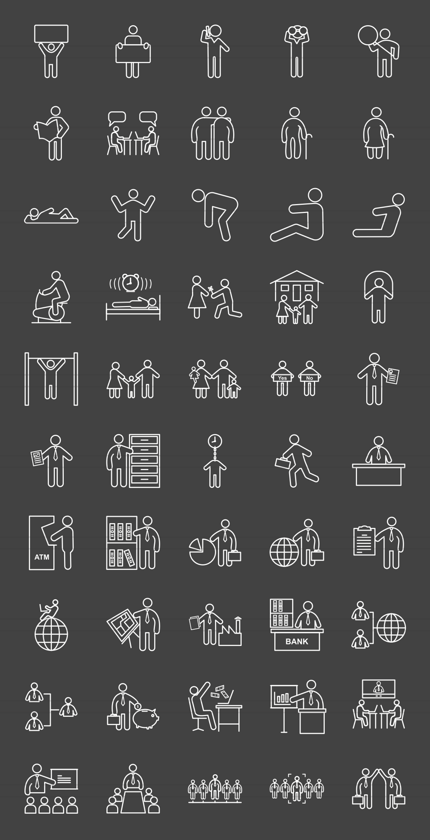 50 Humans Line Inverted Icons example image 2