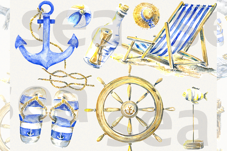 Vacation clipart, summer clipart, watercolor sea clipart example image 3