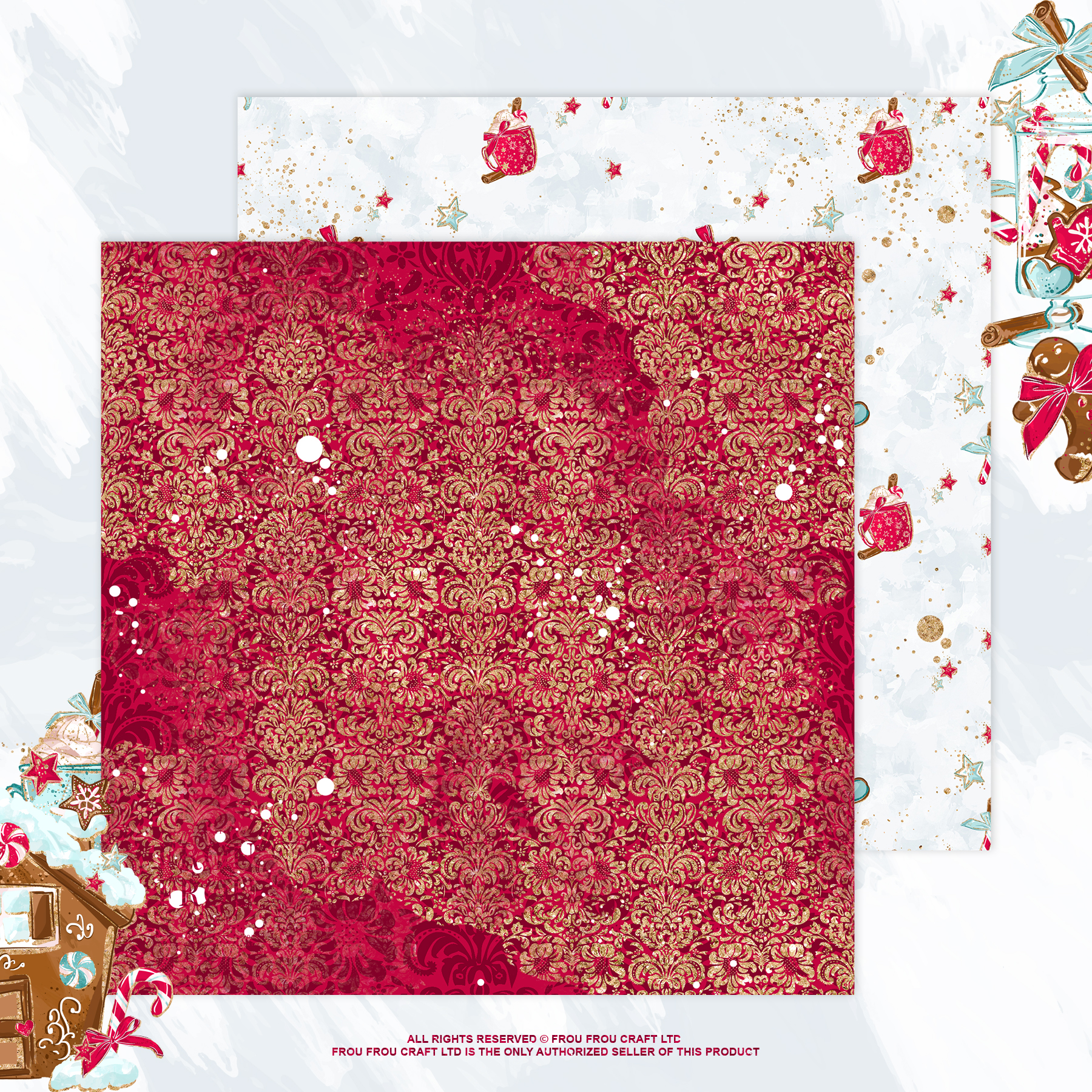 Christmas Winter Ginger Bread Sugar Cane Paper Pack example image 5