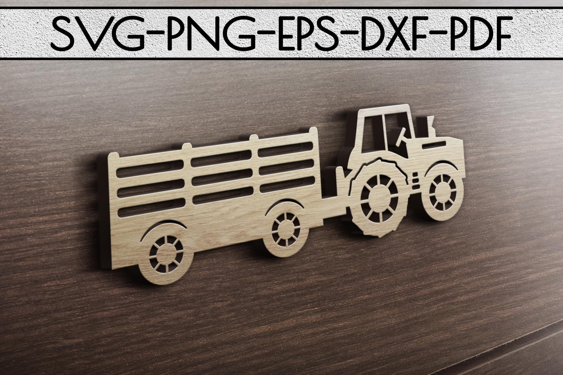 Farm Tractor Papercut Template, Farmhouse Decor, PDF, SVG example image 3