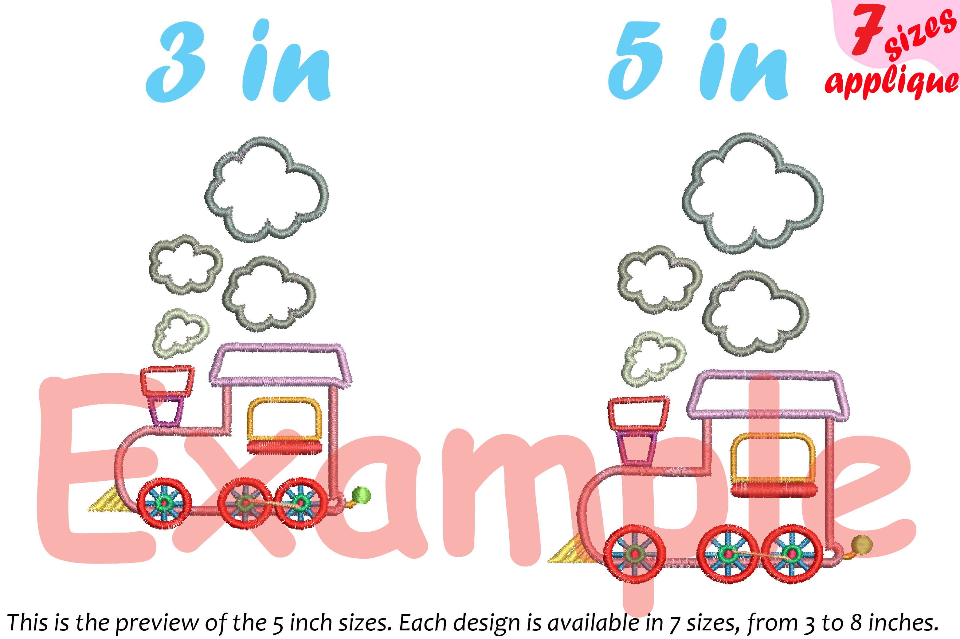 Train Toy Applique Designs for Embroidery Machine Instant Download Commercial Use symbol outline cartoon baby boy Birthday toys 20a example image 4
