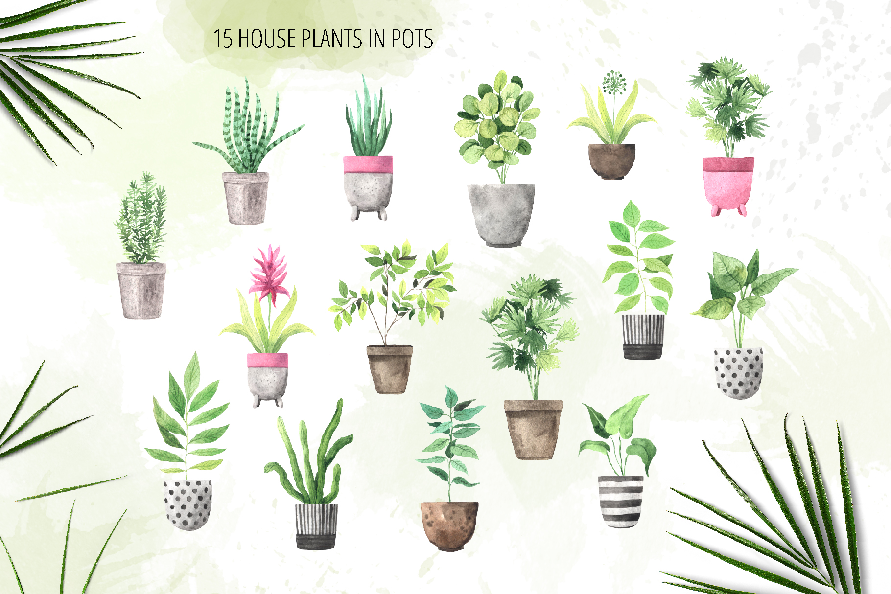 Watercolor House Plants Collection example image 2