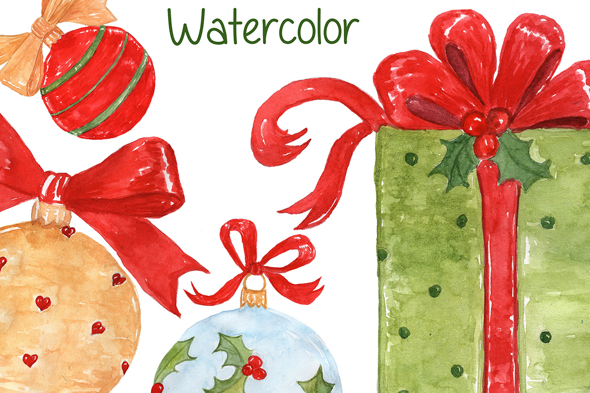 Bundle Watercolor Christmas Kids Clipart example image 19