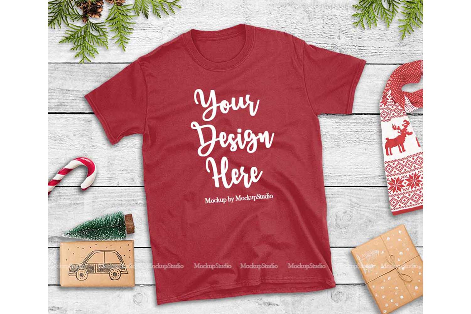Red Christmas Tshirt Mockup Flat Lay Holiday Shirt Display example image 1