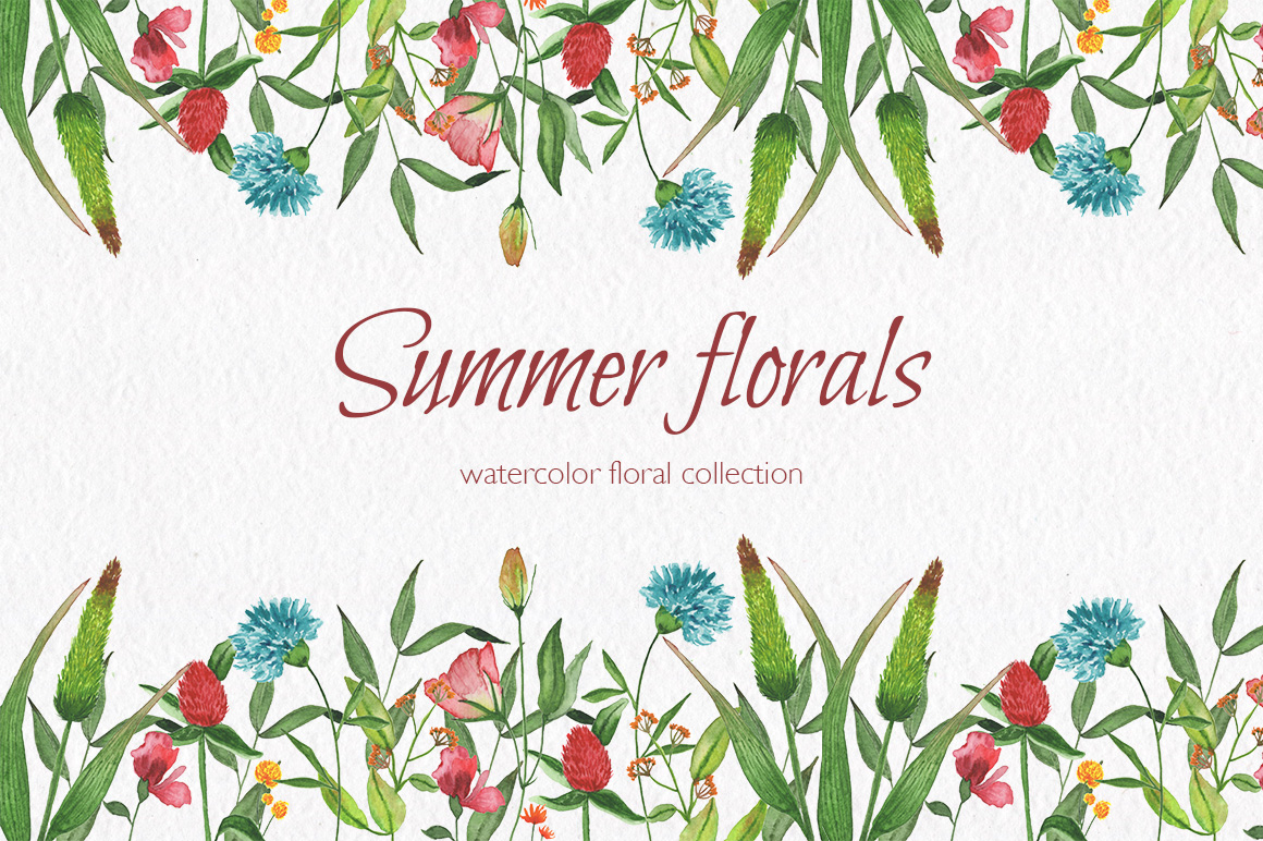 Summer florals. Watercolor floral collection. example image 1