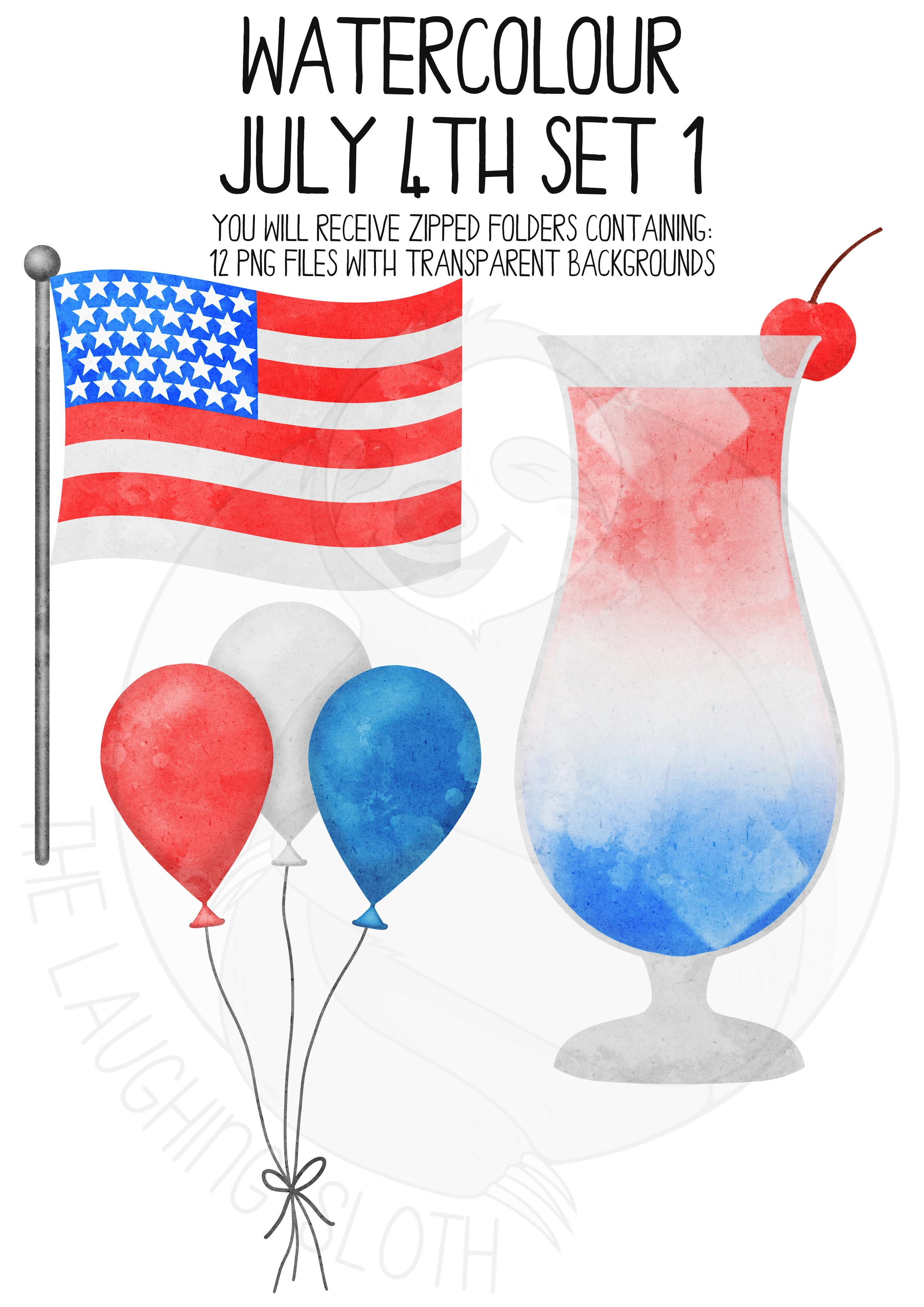 Watercolor July 4th Clip Art Set example image 5