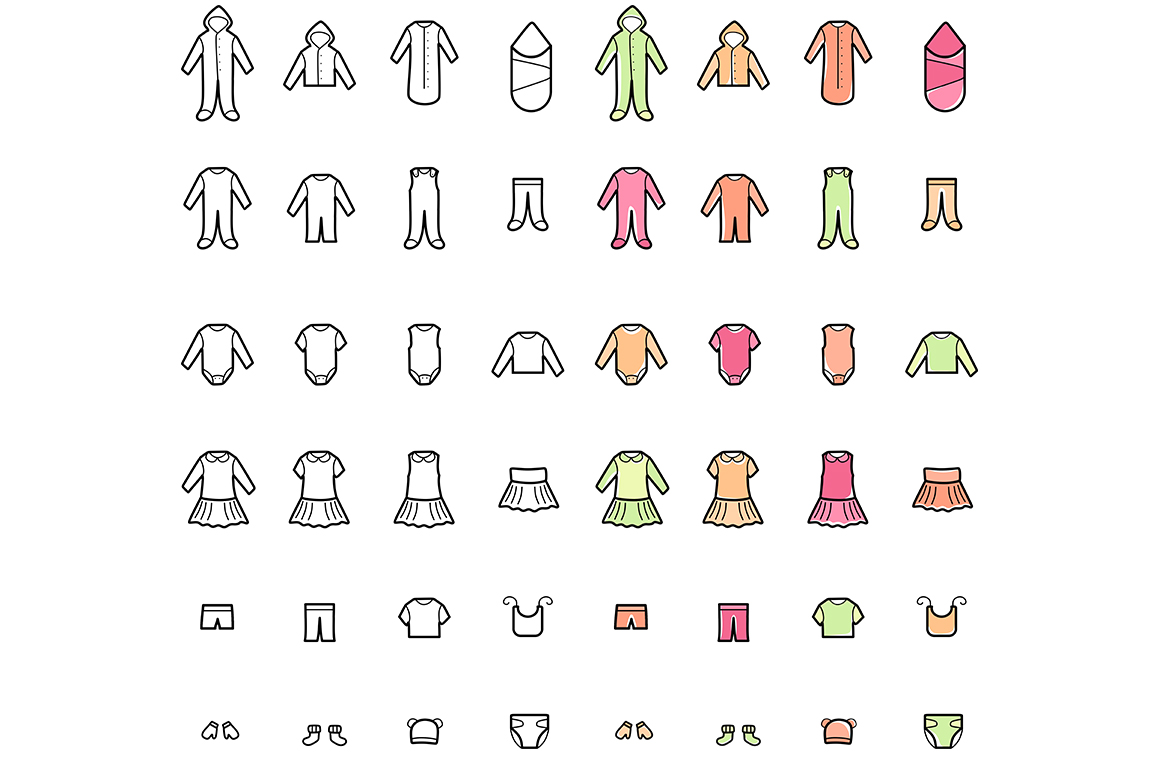 Baby Clothes Line Icons Set example image 6