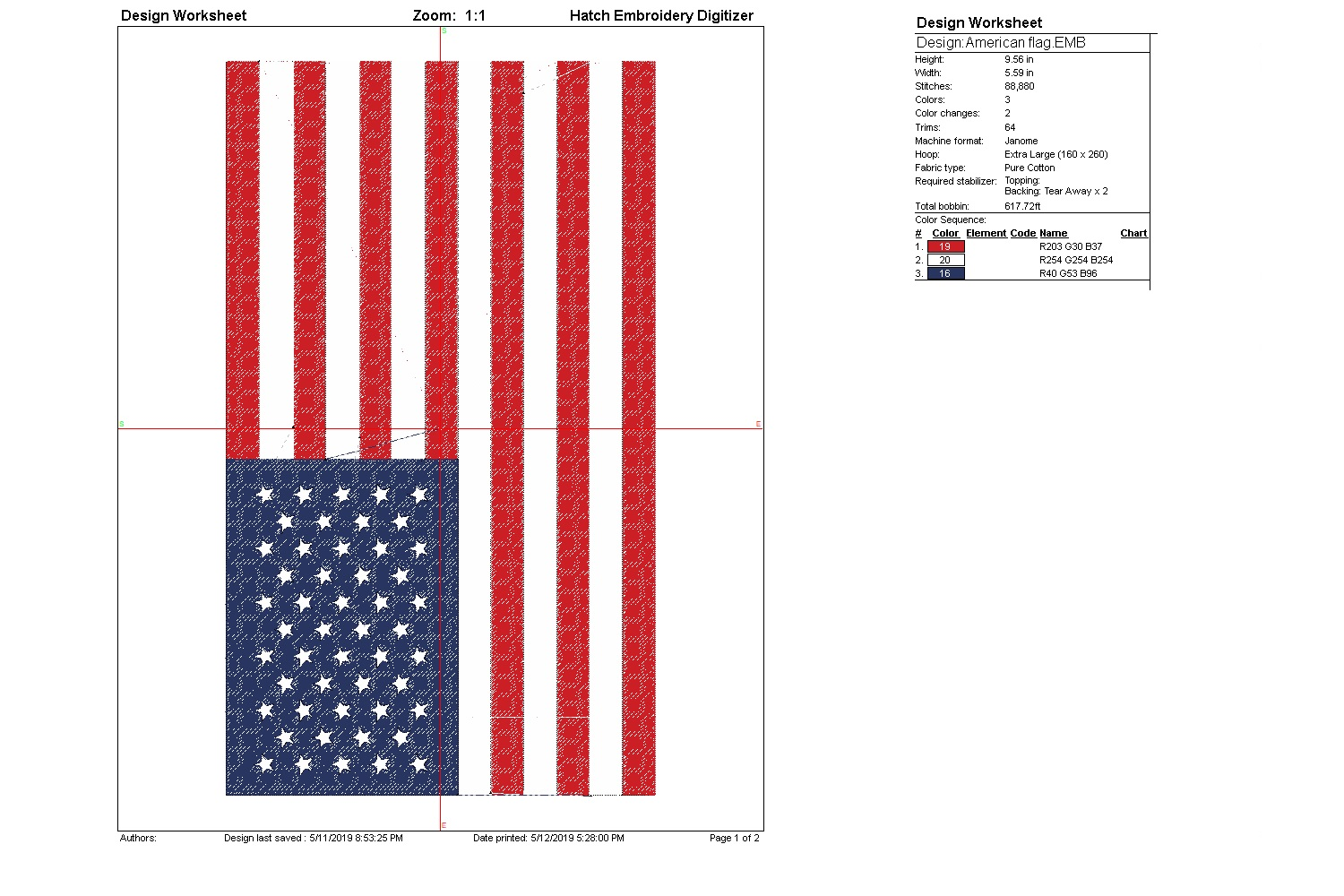 US Flag| Independence day | Machine embroidery| example image 3