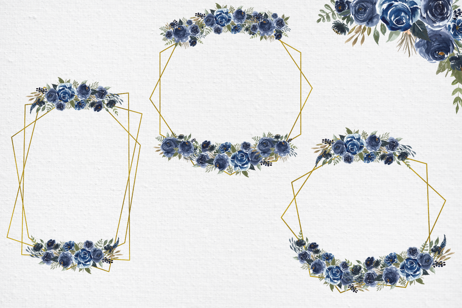 Navy Blue Watercolor Flowers Frames, Geometric Gold Frames, example image 2