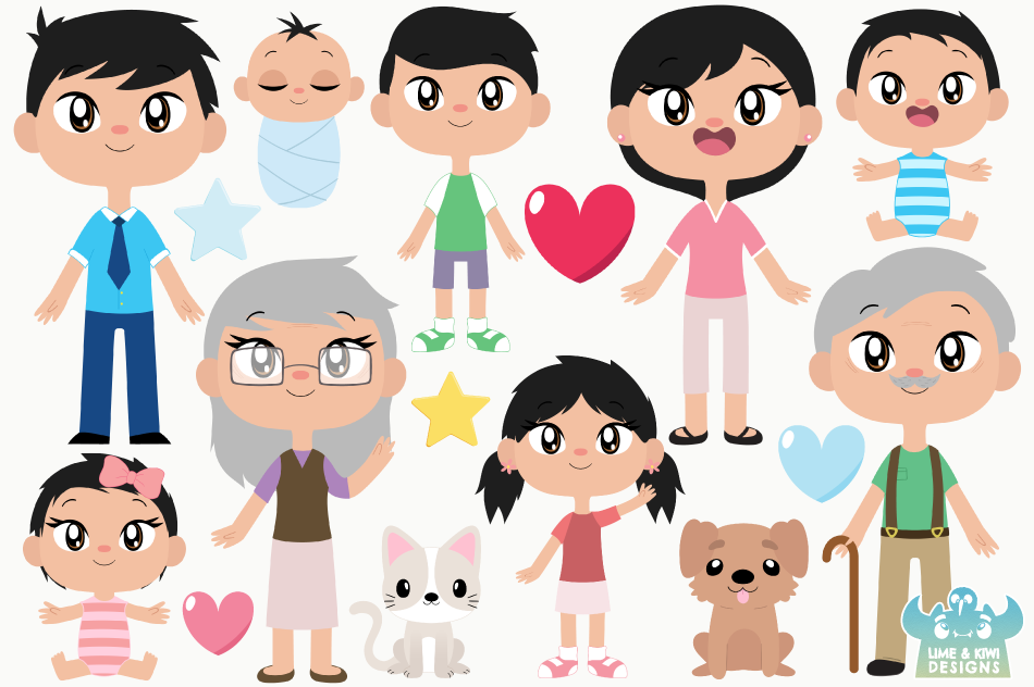 Happy Family 3 Clipart, Instant Download Vector Art example image 2