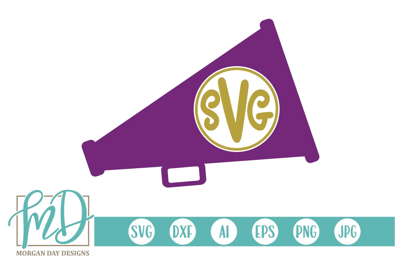 Cheer - Megaphone Monogram SVG, DXF, AI, EPS, PNG, JPEG example image 1