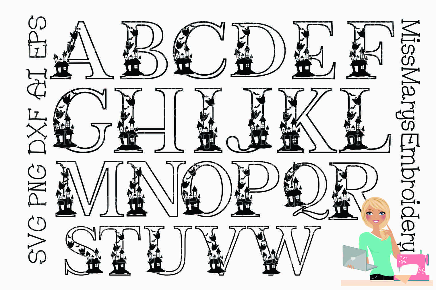 Haunted Halloween Letters SVG Cutting File PNG DXF AI EPS example image 2