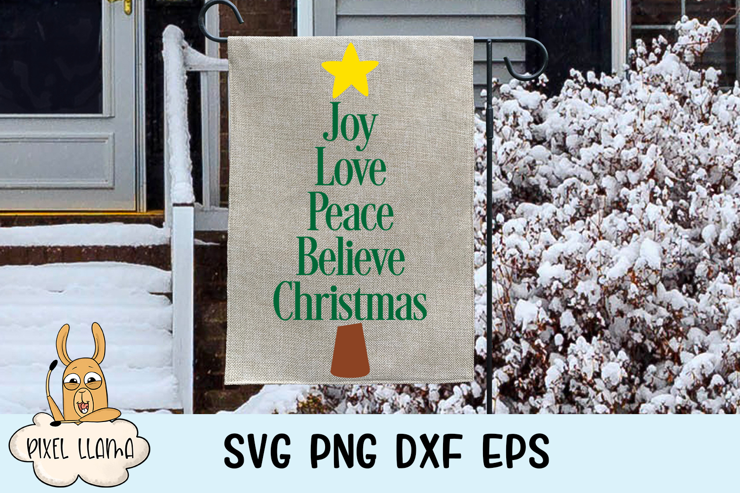 Joy Love Peace Believe Christmas Sign SVG example image 2